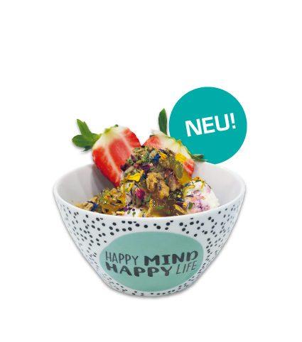 <strong>Happy Mind</strong><br>Müsli, Joghurteis, Ingwersoße und getrocknete Wiesenblüten