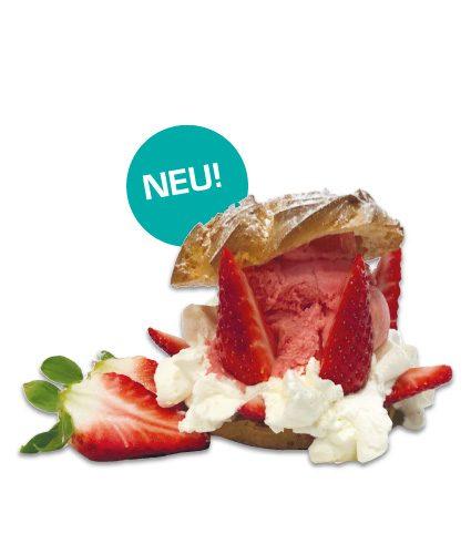 <strong>Eis-Wolke</strong><br>Windbeutel gefüllt mit Sahne, Erdbeeren und Erdbeereis